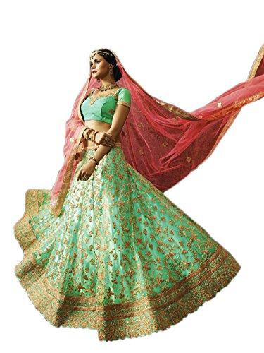 Shoppingover Indian ethnic Party wear Zari embroidered net Lehenga- Choli-Green Color