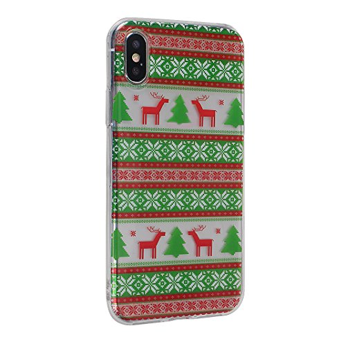 Weihnachten Hülle für iPhone X Silikon, Weihnachts Muster Tasche Gemalt-Design, Moon mood® Weihnachten Dekoration Hülle für Apple iPhone 10 X Ultra Dünn Weiche Transparent TPU Silikon Christmas Cover  Weihnachten Elch 2