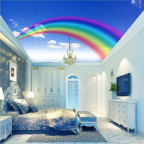 uer Himmel-weiße Wolken-Decken-Wandgemälde des Traum-Regenbogen-blauen Himmel-Karikatur-Karikaturschlafzimmer-Hintergrund-Wand Papel De Parede-300X210CM ()