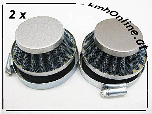kmhonline Pocket Bike/Dirt Bike 49cc Sportluftfilter (versch. Größen) (2 x silber, 59 mm)