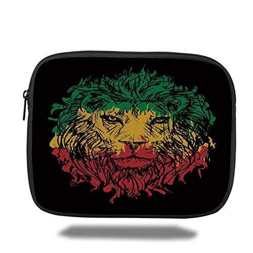Tablet Bag for Ipad air 2/3/4/mini 9.7 inch,Rasta,Ethiopian Flag Colors on Grunge Sketchy Lion Head with Black Backdrop Decorative,Light Green and Yellow,3D Print (Mini-rasta Flag)