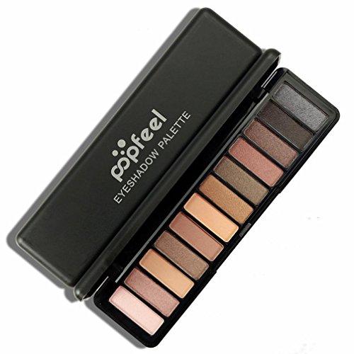 Lidschatten-Palette,Challeng Schimmern Funkeln Bilden Pulver Kosmetik Matt Makeup Augenschatten Palette/12 Farben (A) (Intensiv Lippen Funkeln)