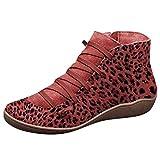 Oksea Damen Kunstleder Leopard Stiefeletten Herbst Vintage Schnürschuhe Damen Bequeme Flache Fersenstiefel Reißverschluss Kurzer Boot