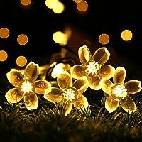 RECESKY alimentata solare fiore fatato luce laccio 7M 50 LED impermeabile Fiorire Natale lampada decorativa per scoperta, giardino, casa, Matrimonio, Natale Albero Partito di Capodanno (bianco caldo)