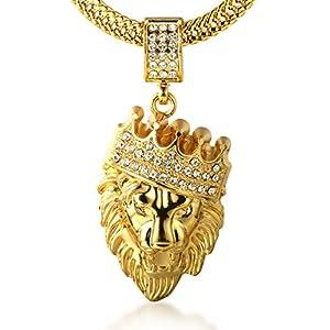"""Halukakah ● Kings Landing ● Uomo Maschile 18K 18 Carati Placcato Oro Reale Leone Corona Pendente Collana con Catena Sharktail Gratuita 30"""""""