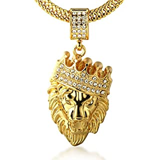 Halukakah Kings Landing Men's 18k Real Gold Plated Crown Lion Pendant Necklace Artificial Diamonds Set with Free Fishtail Chain 30