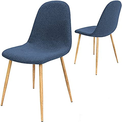 Design Chair Fabric Dining Table Chair Set of 4 Seats Dark Blue Classic Furniture Set