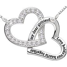 """ALOV joyería de plata esterlina """"mi amor novia querida sostiene nuestros corazones"""" día doble del amor del corazón colgante collar de cumpleaños de San Valentín Navidad regalo para la novia"""