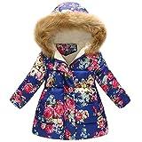 Kinder Mäntel Sunnydrain Kinder jacken Floral Fleece A-Line Muster Hoodie Lose Reißverschluss Winter Warm Herbst Kapuzen Outerwear Baumwolle Langarm