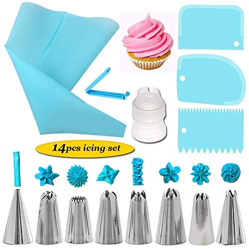 Motto.H Piping Tip Set, 14PCS Backenwerkzeuge, Kuchen Dekorieren Set Mit Plattenspieler, Backenwerkzeuge Mit Abstrich Schaber Konverter (Plattenspieler Mit Konverter)