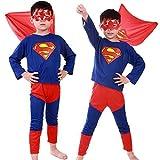 Taglia M - 5-6 anni - Costume - Travestimento - Carnevale - Halloween - Superman - Super eroe - Uomo di acciaio - Colore blu - Bambino