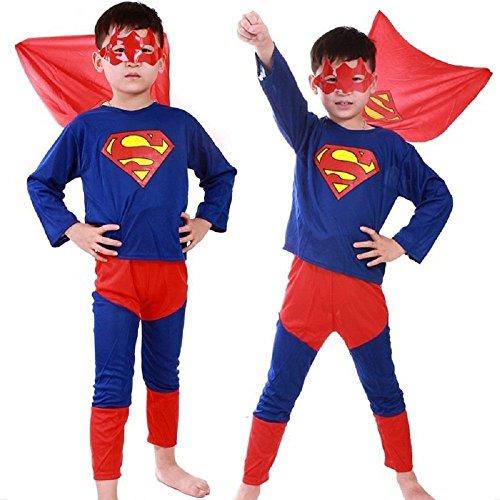 Größe M - 5-6 Jahre - Kostüm - Verkleidung - Karneval - Halloween - Superheld - Mann aus Stahl - Blaue Farbe - Kind