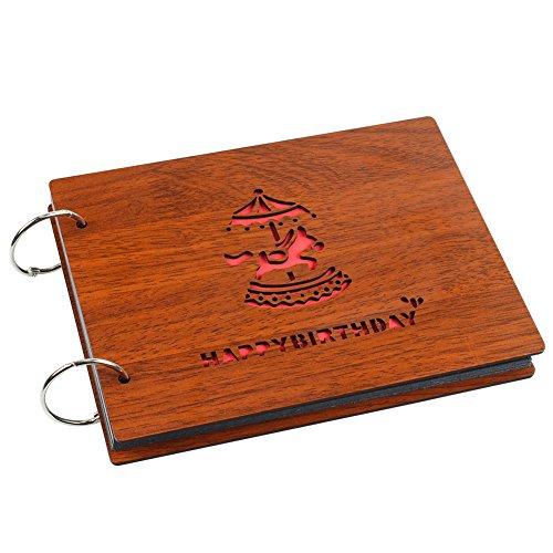 DIY Fotoalbum Scrapbook, SAVORI Fotoalbum aus Holz mit 30 Seiten Album Memory Book Geschenk für Jubiläum Hochzeit Geburtstag Graduierung (Happy Birthday, 22 x 16cm) -