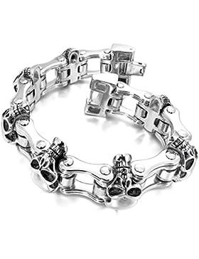 MunkiMix Groß Schwer Edelstahl Armband Link Handgelenk Silber Ton Schwarz Totenkopf Schädel Herren