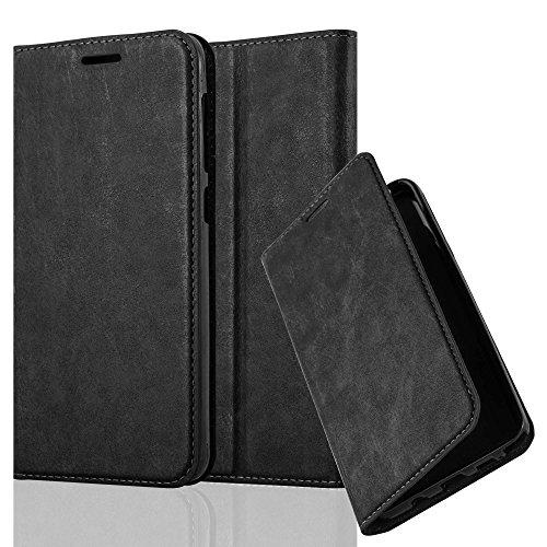 Cadorabo Hülle für HTC Desire 10 Lifestyle/Desire 825 - Hülle in Nacht SCHWARZ – Handyhülle mit Magnetverschluss, Standfunktion und Kartenfach - Case Cover Schutzhülle Etui Tasche Book Klapp Style