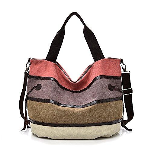 Canvas Damen Handtasche Mehrfarbig gestreift Umhängetasche Schultertasche (Style 3)