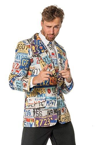 Wilbers Sakko Set Hippie Gras Nummernschild Muster Kostüm Bad Taste Krawatte - Hippie Kostüm Muster
