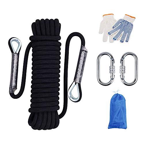 Huatuo 10mm de diámetro Uso Mutil Cuerda para el hogar Cuerdas de Escalada Profesionales Cuerda Rappel Rappel Cuerda de Escape Cuerda de Alta Resistencia con mosquetones (20M, Negro)