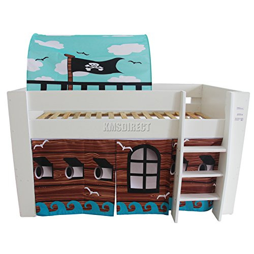 FoxHunter Childrens Wooden MDF Mid Sleeper Cabin Bunk Bed Kids Tent Single 3FT Pirate White Frame No Mattress New