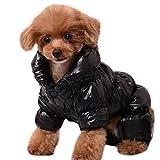 YiJee Kleine Hunde Kleidung Hupentasten Wintermantel Hoher Hals Hundejacke Schwarz L