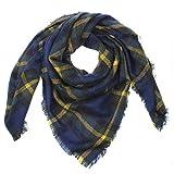 Distressed XXL Damen Oversized Schal Ÿbergro§er Deckenschal Karo Plaid Muster kariert Poncho - navy-gelb-gruen
