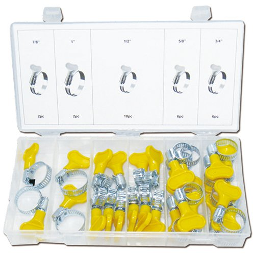 Universal verzinkte Schlauchklemmen-Sortiment Schellen mit Schnell Handspanner 26-tlg. 13-25 mm (im Aufbewahrungsbox / Sortimentsbox)