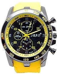 Genießen Reloj Cronógrafo Automático resistente al agua, reloj deportivo para vacaciones de verano, playa, deporte, manecillas luminiscentes, color amarillo