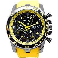 genießen Bracciale Orologi Cronografo impermeabile orologio sportivo per estate vacanza spiaggia Sport lancette luminose Orologio automatico, colore: giallo chiaro