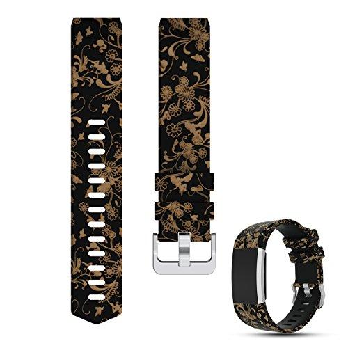 Fitbit Charge 2 Uhrenarmband - iFeeker Zubehör Druckstil Ersatz Weiches Silikon verstellbares Armband Handgelenk Armband Sport Band für Fitbit Charge2 Smartwatch Herzfrequenz Fitness Armband (Fitbit Band Xl)