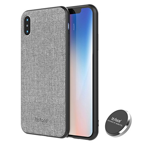 bb face Für iPhone X Magnetisch Hülle mit Auto Handy Halterung Stoff Strukturiert Muster Rückseite PU Leder Abdeckung - 5.8 Zoll, Grau