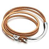 COOLSTEELANDBEYOND Zwei Runden Braun Leder-Armband für Herren Damen Echtes Leder Schweißband Leder Armreif mit Hakenverschluss