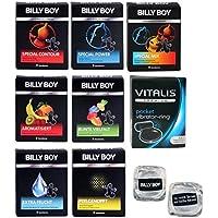 Preisvergleich für Billy Boy Relax Mix - 10 Billy Boy Sorten - 21 Kondome + Vitalis Premium Vibrationsring + 2 coole Billy Boy Eiswürfel...
