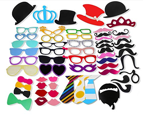 FungLam 60 Stück Party Foto Requisiten Geburtstag Foto Accessoires DIY Photo Booth Foto Props für Hochzeit, Melodrama, Party, Abschlussfeier, Geburtstag, Kinder