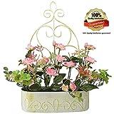 RERXN künstliche Blume in Eisenkorb in Landhausstil, Seidenrose, mit Hängeleiste zum Aufhängen, geeignet als Innen- und Außendekoration oder als Hochzeitsdekoration rose