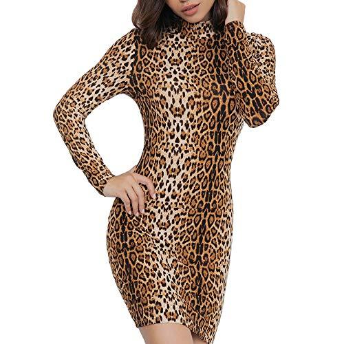 MYMYG Sexy Mujer Vestidos Vestido de Fiesta de Noche Slim Fit Mini Vestidos Vestido Estampado de Leopardo Vestidos Cuello Alto Manga Larga