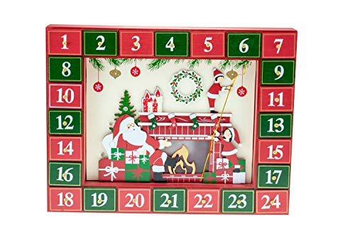 Clever Creations - Adventskalender mit Weihnachtsmann am Kamin - 24 funktionierende Schubladen zum Zählen der Tage bis Weihnachten - schöne Weihnachtsdeko - batteriebetrieben - 33 x 7,5 x 30,5 cm