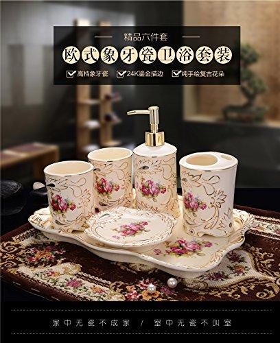 HJKY bathroom accessories set Continental Keramik Badewanne, 5-teilig mit kreativen Spülen cup Luxus Badezimmer Vanity Kit single Produktportfolio, 6 Stück Rosen (mit Fach)