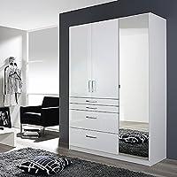 Preisvergleich für Kleiderschrank 3 Türen B 136 cm Hochglanz weiß Schrank Drehtürenschrank Wäscheschrank Kinderzimmer Jugendzimmer Schlafzimmer