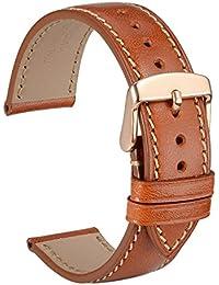 wocci reloj bandas 18mm 20mm 22mm Correa de reloj de pulsera de piel italiana para Taper barco punta hebilla de oro rosa