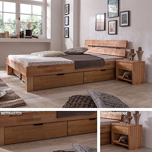 Futonbett Schlafzimmerbett – SKARA – Kernbuche Buche geölt Bett Liegefläche 90 x 200 cm inkl. 2 x Nachtkonsolen + 2 x Bettkästen