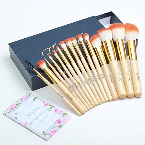 The Fellie Makeup Brushes, Professional Bamboo Handle Powder Flat Foundation Blush Concealer Eyebrow Eyeshadow Eyeliner Eyelash Lip Brush Set, 15 Pcs