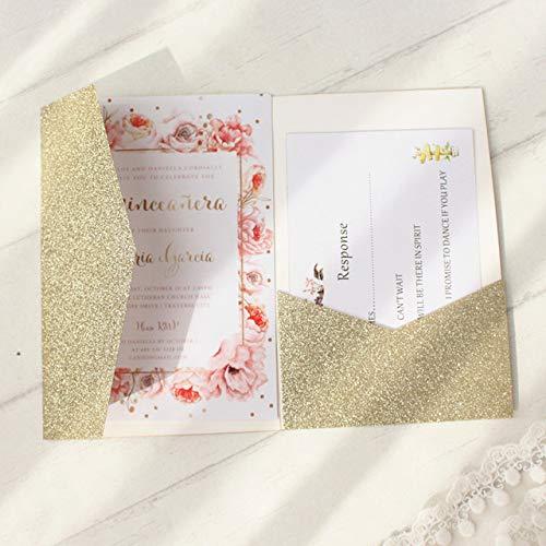 MegOK Glittery Invitation Wedding tri-Folded Pocket Invitation Jacket Gold Silver Rose Gold Customized Printing 50pcs,Glittery Gold,Laser Cutting Card Karte Blue Jackets