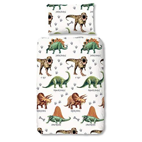 (Good Morning! Bettwäsche 6343 Dinos Weiß Dinosaurier T-Rex Stegosaurus, Größe:135 cm x 200 cm)