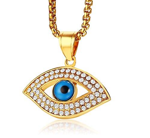 Vnox Edelstahl vergoldet Crystal Evil Eye Amulett schützende Talisman Anhänger Halskette für Männer Frauen (Halskette Evil Eye Protection)