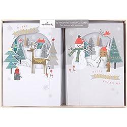 """Hallmark–Tarjeta de Navidad (hecha a mano Pack '""""Merry deseos–10tarjetas, 2diseños"""