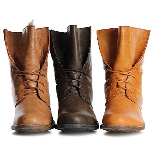 topschuhe24 1066 Damen Worker Boots Stiefeletten Schnürer Hellbraun