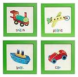 BD ART Set di 4 Quadretti con le immagini di AEREO+ TRENO+ AUTO+ BARCA, per la Camera Ragazzi, Bambini