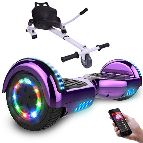 RCB Self-Balance Electric Scooter overboard 6.5 Inches with Flashing Wheels UL2272 + Free Handlebar Accessories for overboard Gift for Children and Teens