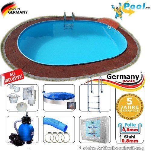 Ovalbecken 6,00 x 3,20 x 1,50 m Set Stahlwandpool Schwimmbecken Ovalpool 6,0 x 3,2 x 1,5 Swimmingpool Stahlwandbecken Fertigpool oval Pool Einbaupool Pools Gartenpool Sets Einbaubecken Komplettset