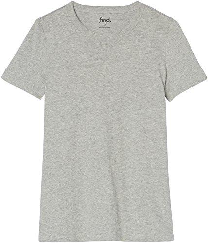 FIND Damen T-Shirt Crew Neck Grau, 38 (Herstellergröße: Medium)